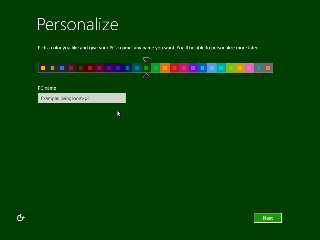 Windows 8 colour scheme personalisation