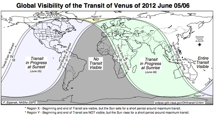venus transit global map 2012
