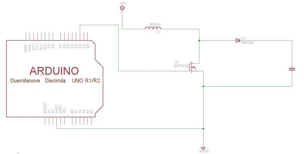 DC to DC high voltage converter circuit with arduino