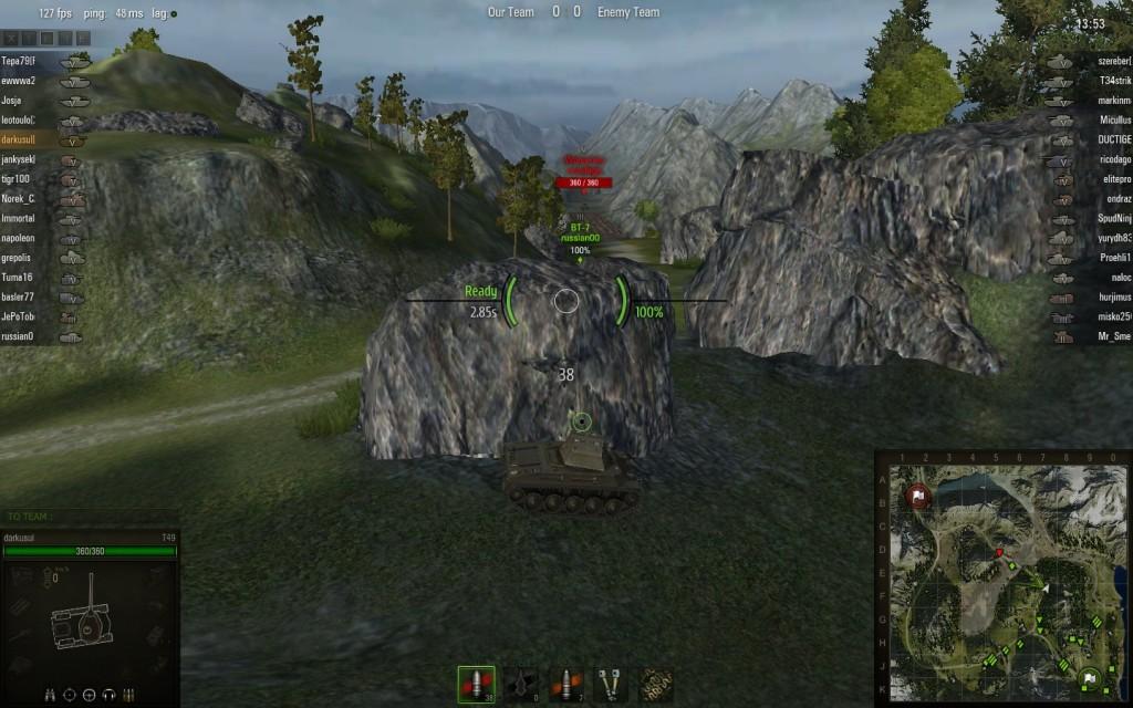 World of tanks battle in progress