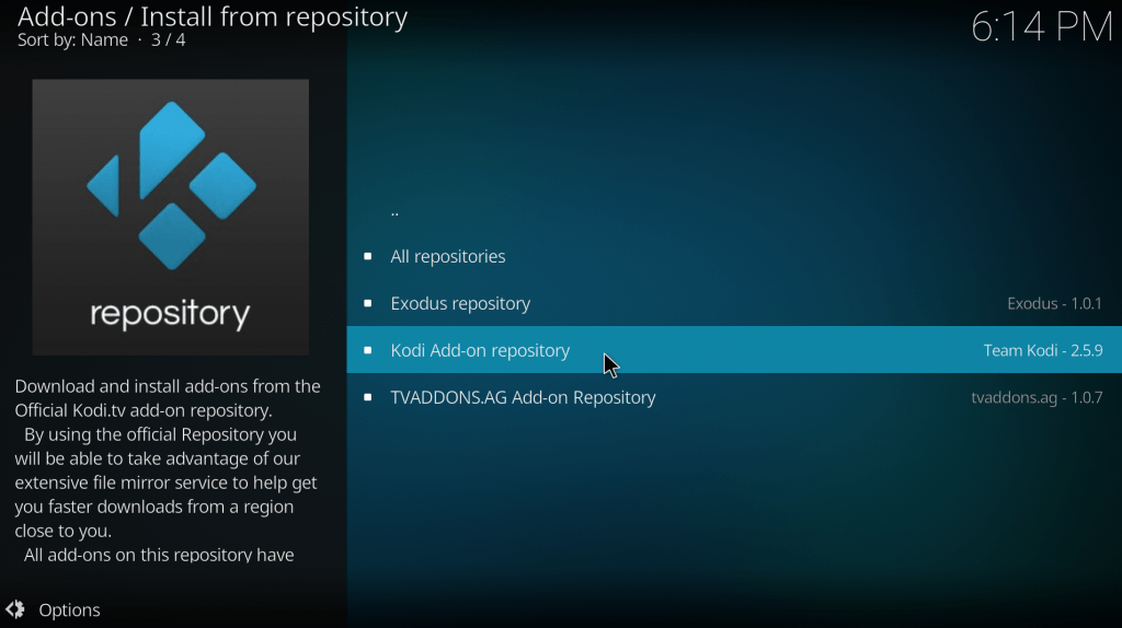 After pressing repository kodi addon repository