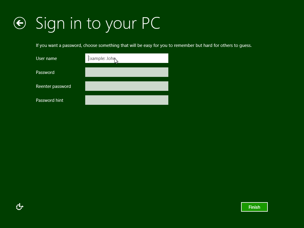 Windows 8 release preview create user
