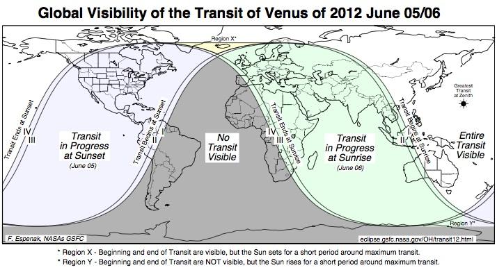 venus transit global map 2012