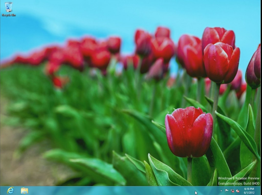 Windows 8 release preview desktop screen