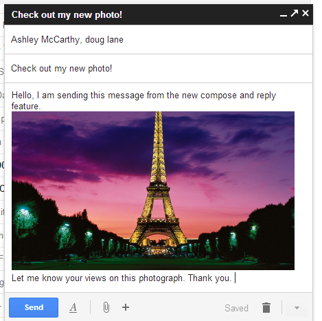 Attaching an image in gmail new compose and reply