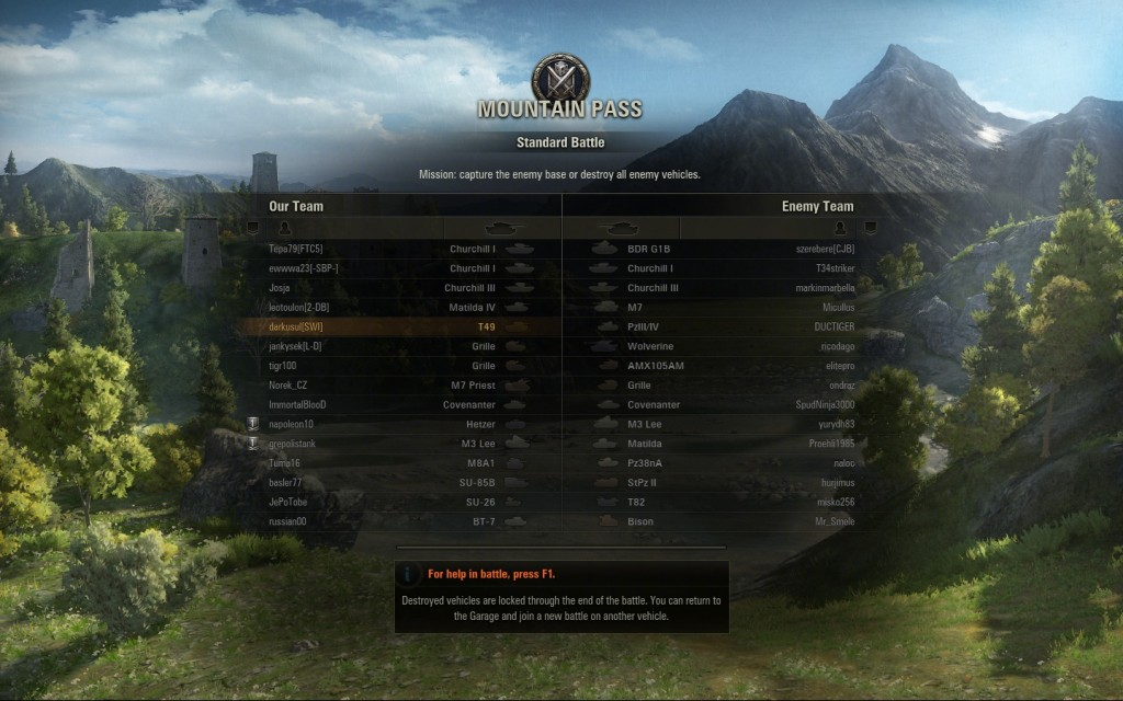 World of tanks battle in progress