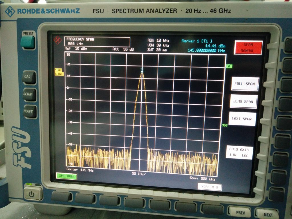 DRA818V output on spectrum analyzer