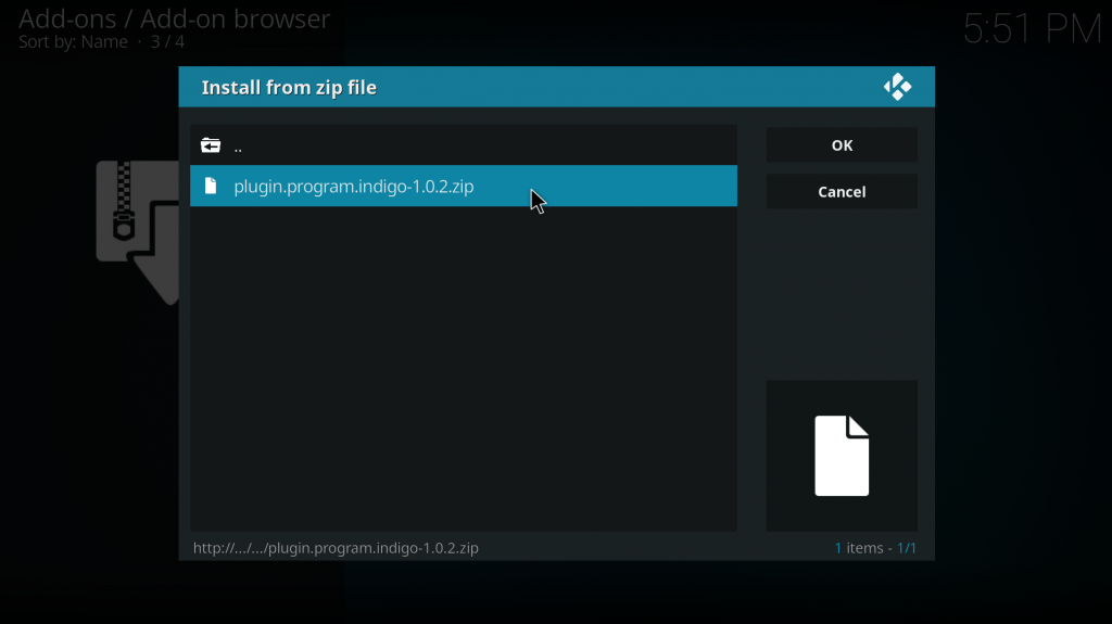 Install plugin program indigo